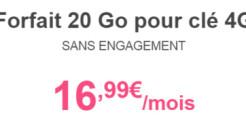 La clé 3G 20Go de Bouygues à 16,99€/mois : la moins chère !